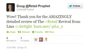 Doug Stephens response to book review tweet
